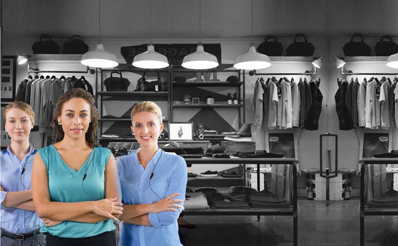 Einzelhandel Boutique Funkgeräte Headset Team Kommunikation Filialfunk Push to Talk Mitarbeiter
